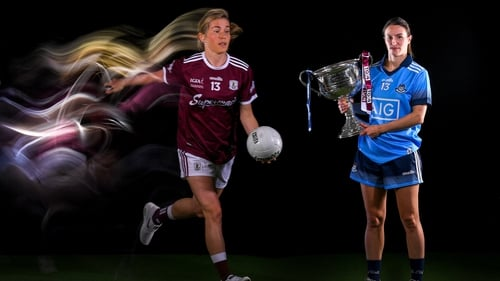 Team captains Tracey Leonard of Galway and Dublin's Sinéad Aherne