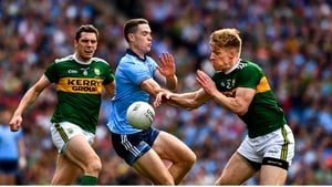 Brian Fenton in action against Tommy Walsh and David Moran during the drawn game