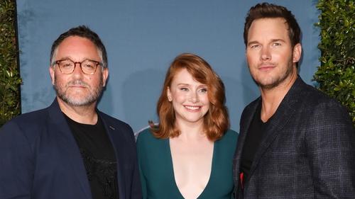 Director Colin Trevorrow and Jurassic World stars Bryce Dallas Howard and Chris Pratt