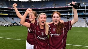 Sarah Conneally, Megan Glynn and Sarah Lynch celebrate the semi-final victory over Mayo