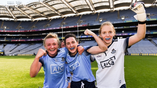 Dublin players Carla Rowe, Lyndsey Davey, and Ciara Trant