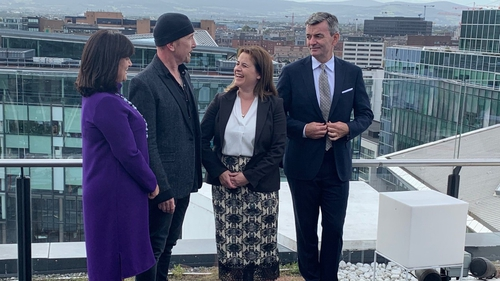 (From left to right) CPL Resources CEO Anne Heraty, U2's The Edge, Atlantic Bridge founder Elaine Coughlan and Mark Roden, CEO of Ding