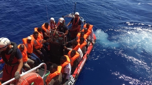 Ocean Viking rescued a group of migrants off the coast of Libya in the Mediterranean last month