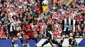 Sadio Mane scores Liverpool's first goal at Anfield