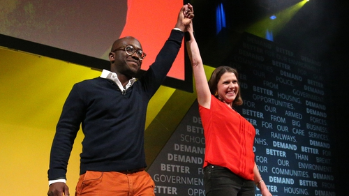 Former Tory minister Sam Gyimah with leader Jo Swinson at the Liberal Democrats conference today