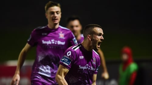 Michael Duffy celebrates after equalising in the first half