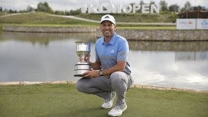 Sergio Garcia poses with the trophy Badhoevedorp