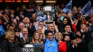 Dublin captain Sinéad Aherne lifts the Brendan Martin Cup