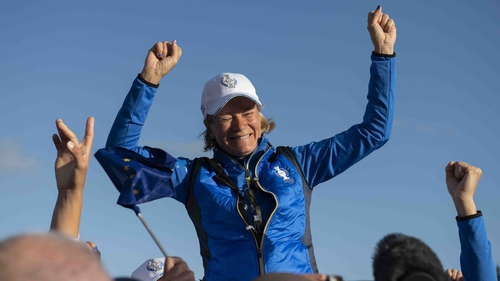Europe captain Catriona Matthew celebrates after Europe won the Solheim Cup at Gleneagles