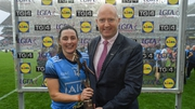 Lyndsey Davey receiving the Player of the Match award at the end of today's All-Ireland senior ladies final