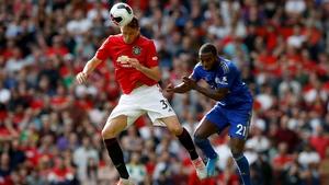 Nemanja Matic and Leicester City's Ricardo Pereira