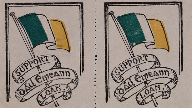 Two stamps promoting the Dáil Loan Photo: National Library of Ireland, EPH A190