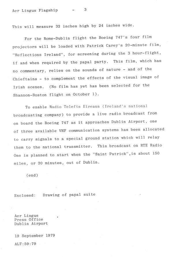 Aer Lingus St Patrick, Papal Visit 1979