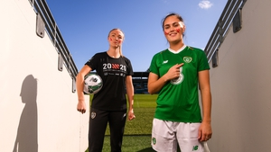 Louise Quinn and Jess Gargan in Tallaght today