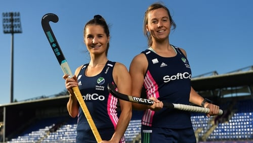 Ireland pair Emily Beatty (L) and Megan Frazer at Energia Park in Donnybrook