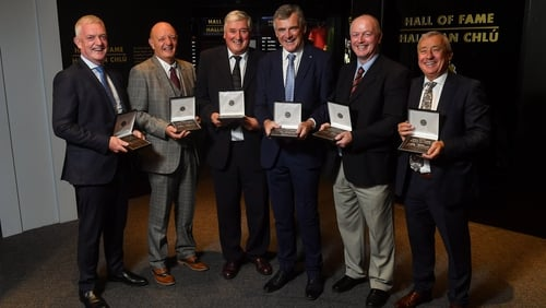Nicky English, Terence McNaughton, Conor Hayes, Colm O'Rourke, Larry Tompkins and Denis Moran were honoured by the GAA at HQ today