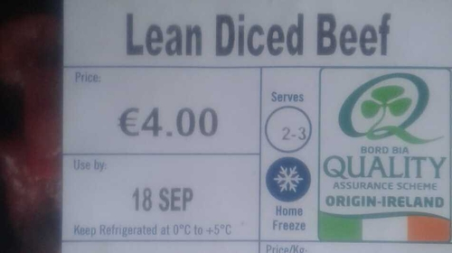 Bord Bia said a printing error occurred during the labelling process