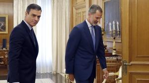 Acting Spanish Prime Minister Pedro Sanchez meeting King Felipe VI