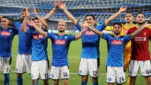 Napoli players celebrate their victory