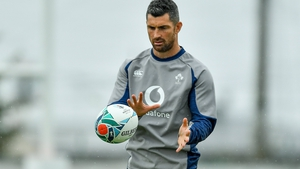 Rob Kearney at Ireland training earlier today