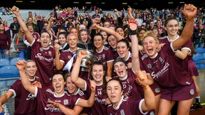 The Galway team celebrate with the O'Duffy Cup after beating Kilkenny