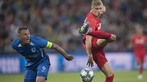 Erling Haaland (R) in action for FC Salzburg against Genk on Tuesday