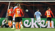 Manchester City's Riyad Mahrez opens the scoring in Kharkiv