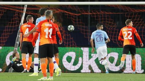 Manchester City's Riyad Mahrez opens the scoring in Kharkiv