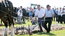 Taoiseach Leo Varadkar tries his hand at ploughing at the National Ploughing Championship in Carlow