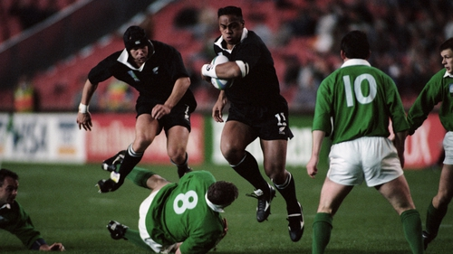Jonah Lomu marked his World Cup debut with two tries against Ireland in 1995