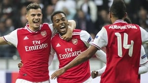 Arsenal's Joe Willock celebrates with team-mates Granit Xhaka and Pierre-Emerick Aubameyang after scoring the opener