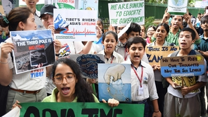 Indian activists and students gather for a protest against climate change in New Delhi