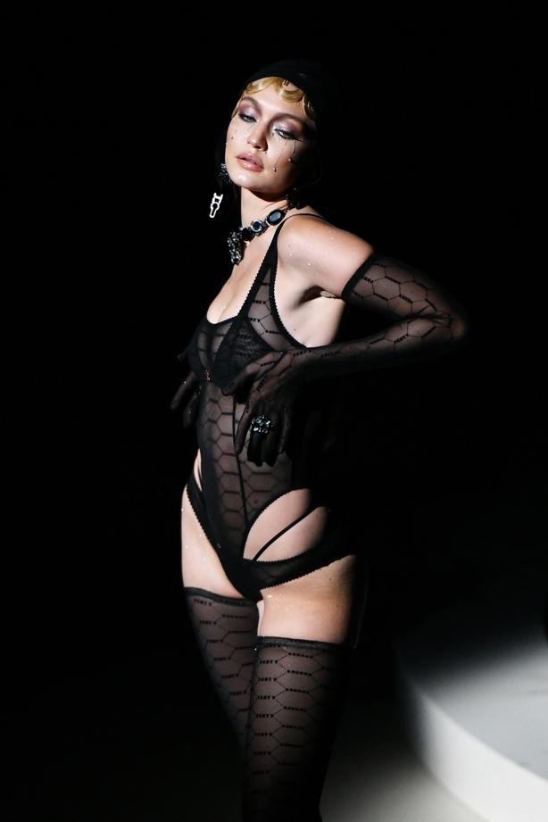 Gigi Hadid modelling one of the make-up looks (Dimitrios Kambouris/Getty/PA)