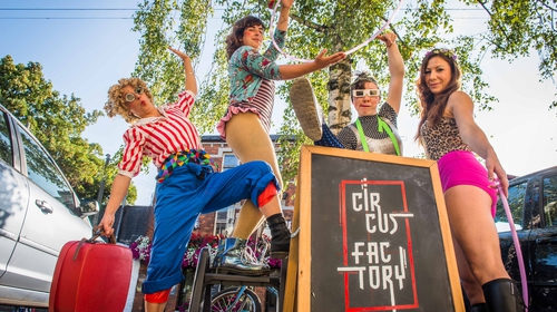 Circus Factory members Natasha Bourke, Kate Mitchell, Édaein Samuel and Karen Dunn warming up for Pitch'd Circus & Street Arts Festival
