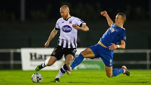 Chris Shields of Dundalk in action against Michael O'Connor