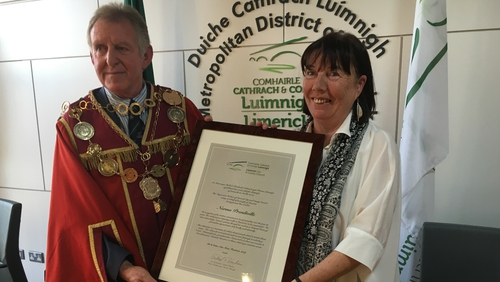 Mayor of Limerick Cllr Michael Sheahan made the presentation to Norma Prendiville at City Hall in Limerick