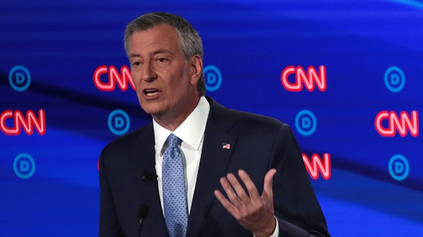 NYC Mayor Bill de Blasio during a July Democratic Presidential Debate