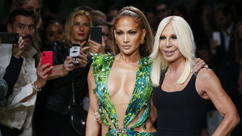 Donatella Versace and Jennifer Lopez at the Versace show during the Milan Fashion Week.