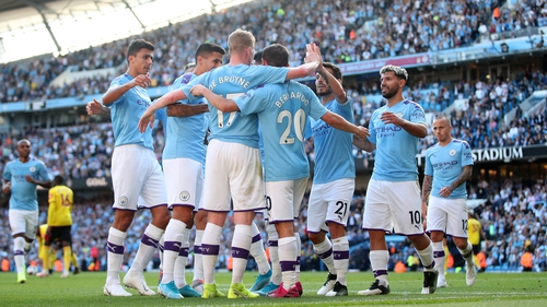 Premier League champions City posted a club-record Premier League win against Watford