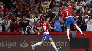 Alvaro Vadillo celebrates his goal against Barcelona