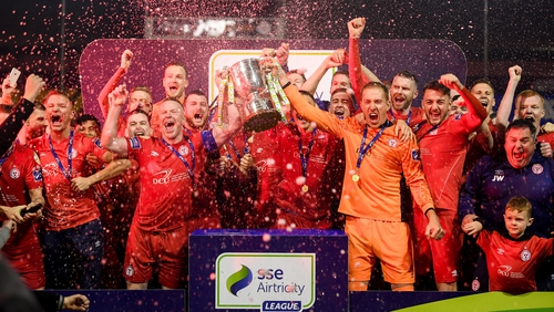 Shelbourne lift the First Division trophy at Tolka Park