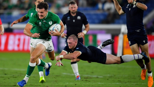 Stuart Hogg (tackling) believes that Scotland can rebound from their opening day defeat