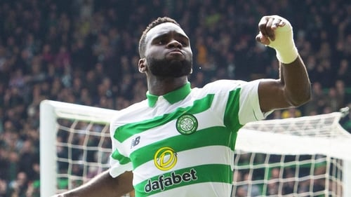 Edouard celebrates scoring for Celtic