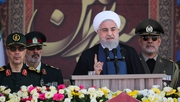 Iran's Hassan Rouhani delivers his speech during the annual military parade