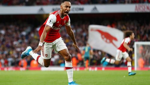 Pierre-Emerick Aubameyang celebrates his winning goal