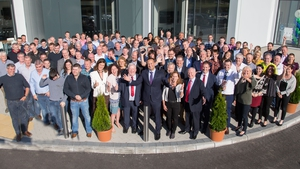 Taoiseach Leo Varadkar pictured with employees of Fort Wayne Metals at the official opening of a new manufacturing facility in Castlebar