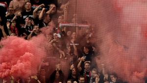 Hungarian fans set off flares