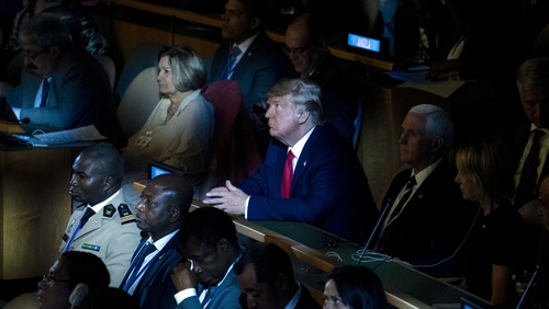 Donald Trump attends the UN Climate Action Summit in New York