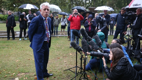 John Bercow addressed reporters in Westminster this afternoon
