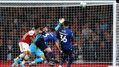 Gabriel Martinelli scores in the first half for Arsenal against Nottingham Forest